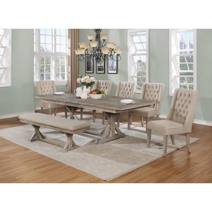 One Allium Way Minnie 7 Piece Dining Set Wayfair Dining Set With Bench Pedestal Dining Table Dining Room Sets