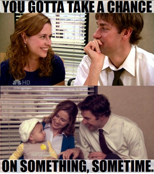 Love love love both the mutual blushing and ALWAYS the thought of lots and lots of Jim and Pam babies! Would love for the series to end with us finding out that they are going to have another baby because it would be a shame if they didn't populate this earth with at LEAST 3-4 adorable fictional (yeah, I always have to remind myself of that part. Even then I wonder if I'm lying! Anyhow at LEAST 3-4 adorable Beesly/Halpert children! Would make the world a prettier place! :)