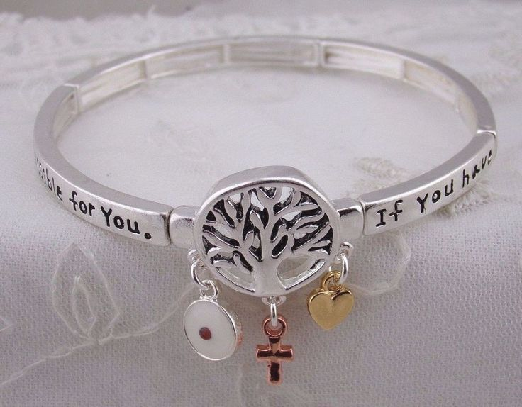 Faith as a Mustard Seed Stretch Bracelet Silver Tree Cross Fashion Jewelry New #FashionLeader #stretch