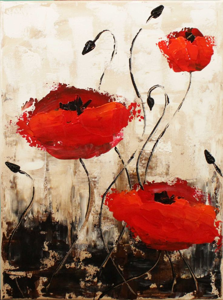 poppies step by step acrylic painting on canvas for beginn