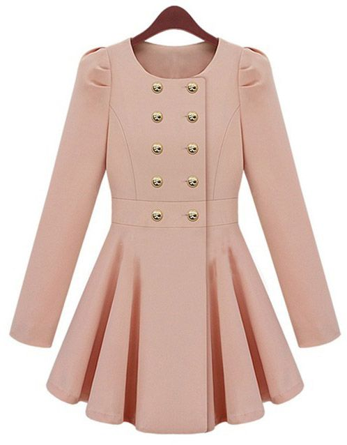 Pink Long Sleeve Double Breasted Flare Hem Wool Coat US$50.00