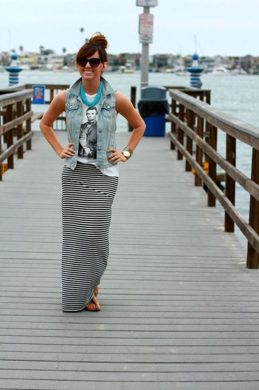 Tee, denim vest, maxi skirt, blue necklace