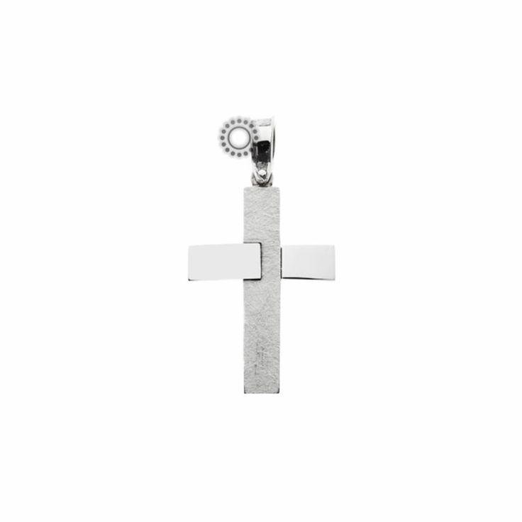 Μοντέρνος βαπτιστικός σταυρός για αγόρι λευκόχρυσος Κ14 γυαλιστερός οριζόντια ματ κάθετα | Κόσμημα ΤΣΑΛΔΑΡΗΣ στο Χαλάνδρι #βαπτιστικός #σταυρός #βάπτισης #αγόρι
