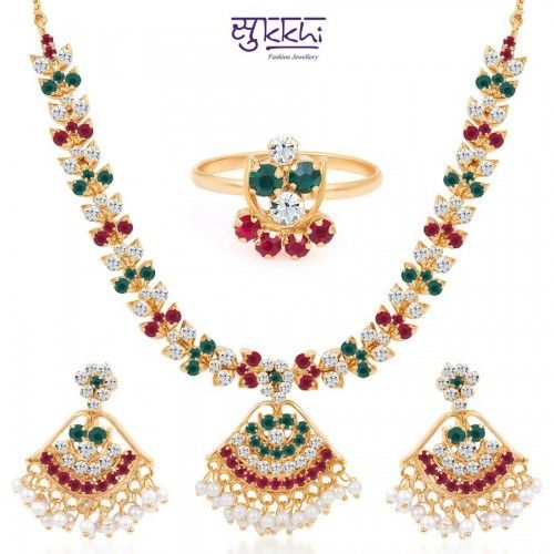 Buy Paisley Gold and Rhodium Plated AD Kundan Necklace Set Online