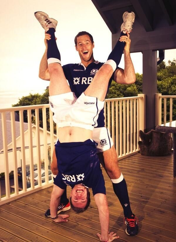 At the launch of the 2013 Scottish Rugby Strip, Tim Visser and Stuart Hogg... Nope. I can't explain it either!