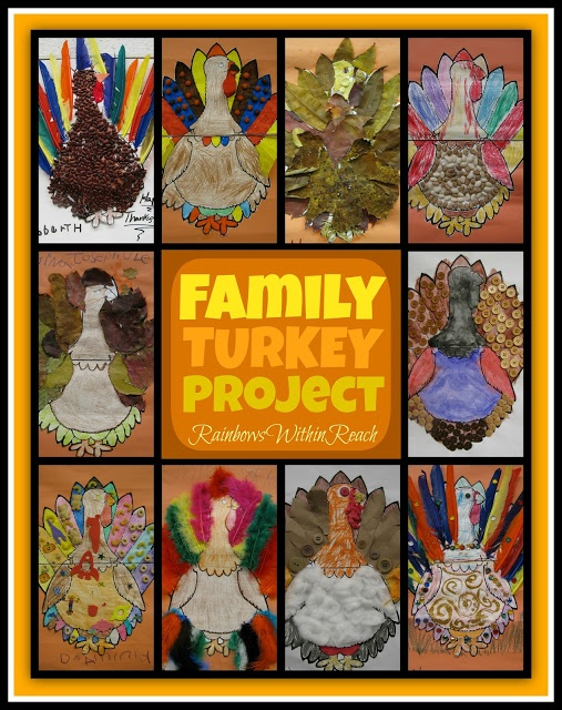 Family Turkey ART Projects via RainbowsWithinReach   Have you sent your preschool class home with a family art project?  #Thanksgiving #Preschool
