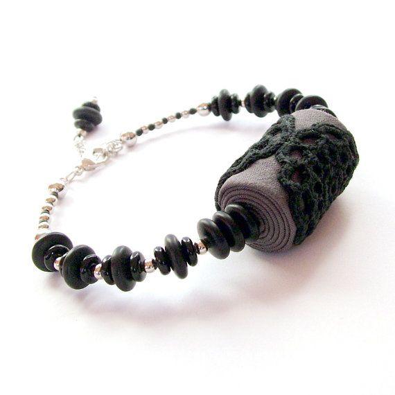 Black lace bracelet / fabric jewelry / beaded lace bracelet in grey, black and silver / crochet lace jewelry