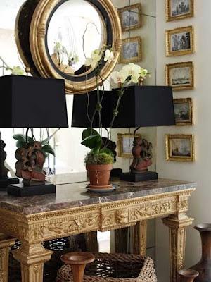 Nancy Boszhardt--mirror, mirror on a mirror...great vignette for foyer or corner