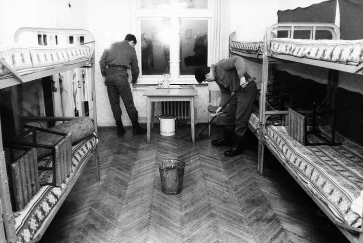 Soldiers of the Hungarian People's Army cleaning the dormitory of their barracks, 1981.