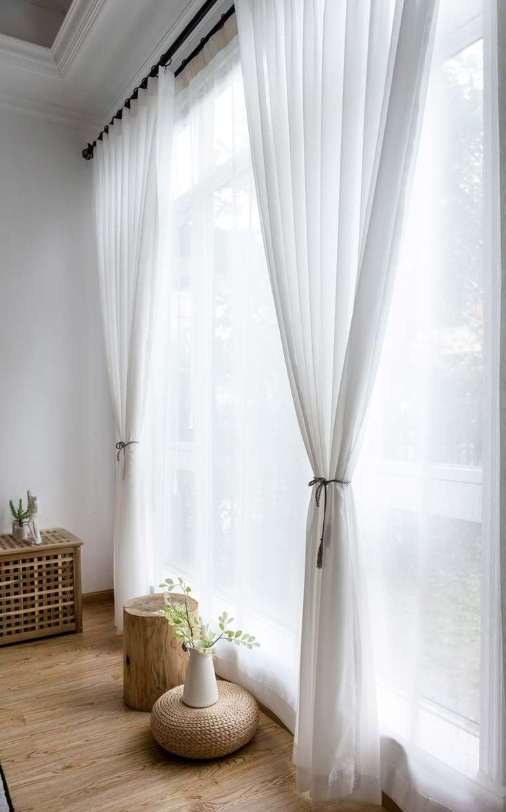 Modern Curtains White Chiffon for Living Room Transparent