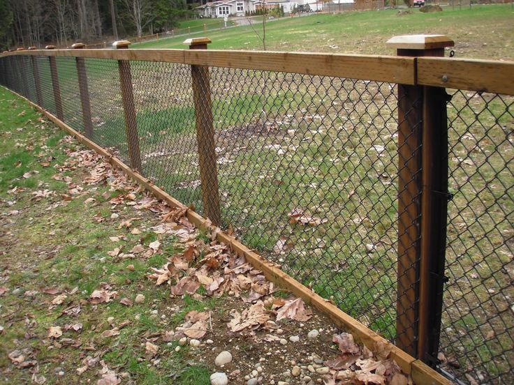 black chain link fence with wood - Google Search                              …