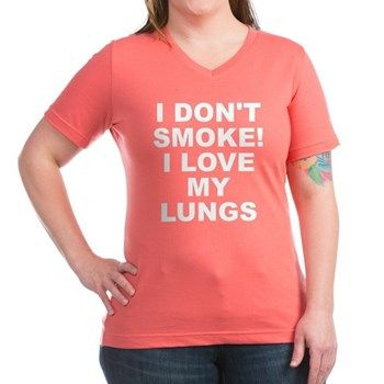 Women's dark color coral v-neck t-shirt with I Don't Smoke I Love My Lungs theme. Your lungs are your internal filtration systems for your body. What happens when filters get clogged up? Quit and detox. Available in black, silver, navy blue, charcoal, Kelly green, coral, garnet; small, medium, large, x-large, 2x-large, 3x-large for only $25.99. Go to the link to purchase the product and to see other options – http://www.cafepress.com/stsmoke