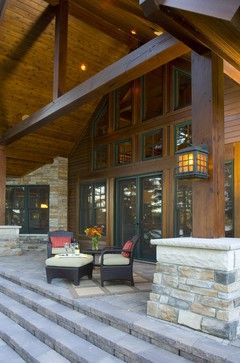 Contemporary Stacked Stone And Wood Beam Exterior Design Ideas Pictures Rem