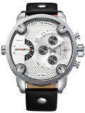 Alienwork DualTime Quarzuhr Armbanduhr Multi Zeitzonen Uhr XXL Oversized Leder weiss schwarz OS.WH-3301-2