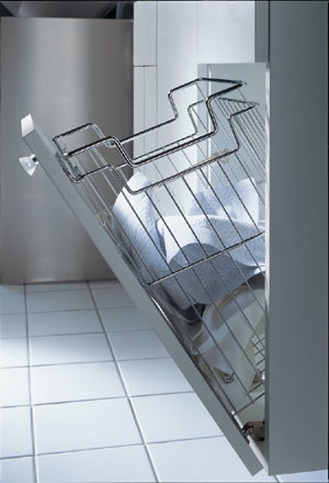 laundry basket in cupboard And wire baskets stop clothes from going smelly as air is able to circulate