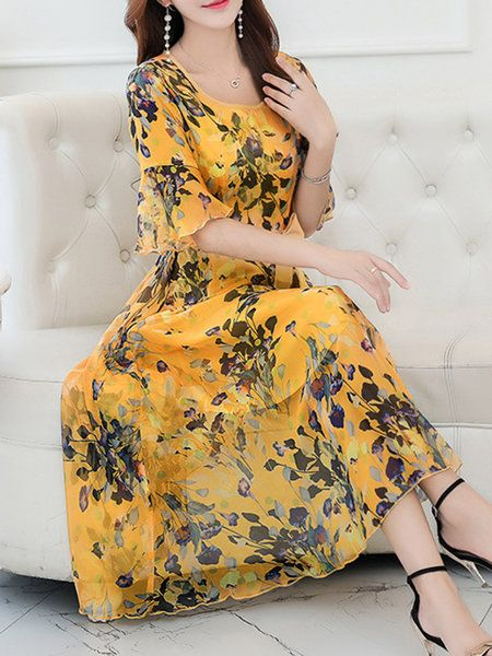 Yellow Floral Chiffon Bell Sleeve Plus Size Print Dress with Belt