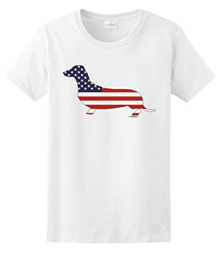 Patriotic Dachshund Doxin Weiner Dog American Flag Ladies TShirt 3XL White ** You can find more details by visiting the image link.