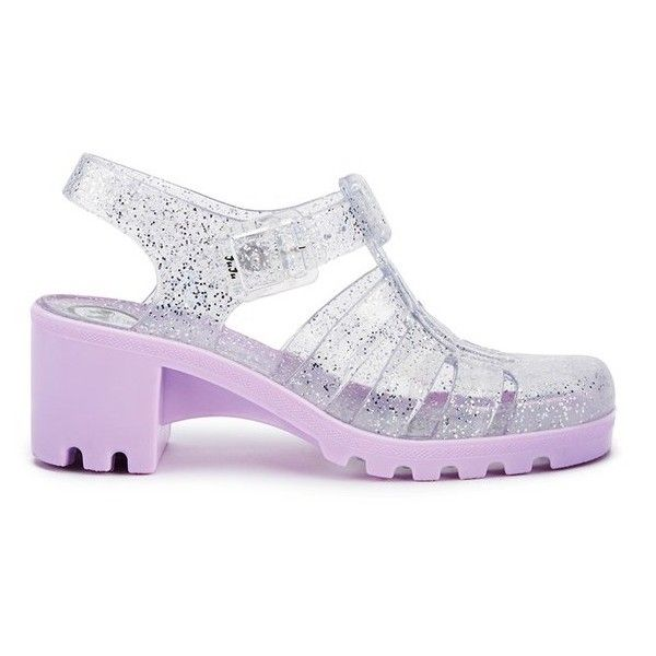 JuJu Women's Babe Heeled Jelly Sandals - Multi Glitter/Orchid (£18) ❤ liked on Polyvore featuring shoes, sandals, multi, pink sandals, pink jelly shoes, traction shoes, glitter shoes and cut out sandals