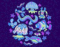 Bizarre sea creatures. Nautical pattern.
