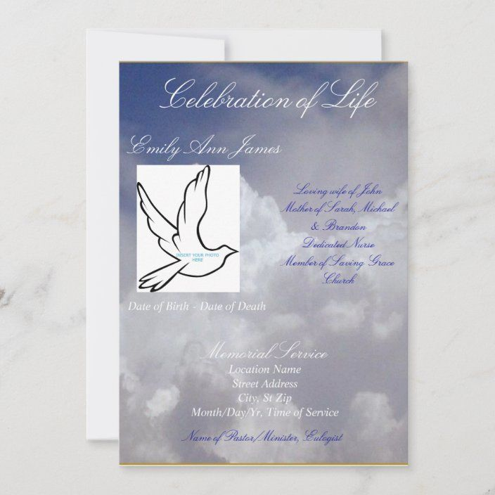 Celebration Of Life Funeral Invitation Program Invitation Zazzle Com In 2021 Funeral Invitation Celebration Of Life Invitation Template