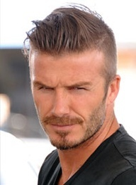 In the styling, David Beckham has short hair on the side, almost shaved, but he can wear it different ways.
