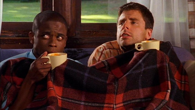 "Shawn and Gus pretending to have hypothermia in the episode, ""Forget Me Not"""