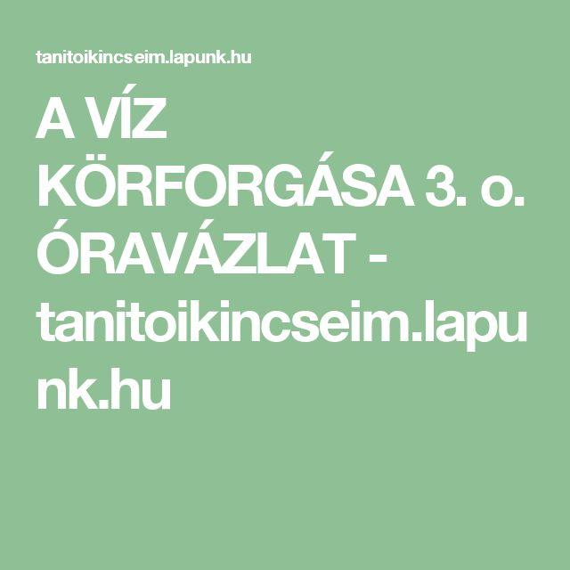A VÍZ KÖRFORGÁSA 3. o. ÓRAVÁZLAT - tanitoikincseim.lapunk.hu