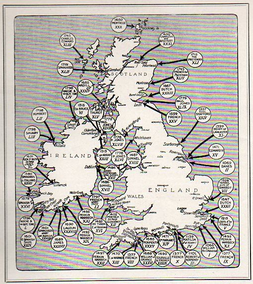 """// a map of the 54 invasions of Great Britain (and """"the places at which foreign troops have landed on British soil since 1066 (and all that), seen in the Illustrated London News for 27 March 1909)"""
