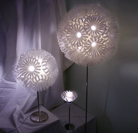 lamps made out of recycled plastic bottles