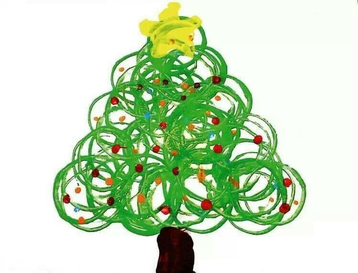 So pretty and easy - use a cup to stamp paint circles then just add a trunk, star and ornaments as you like - perfect!