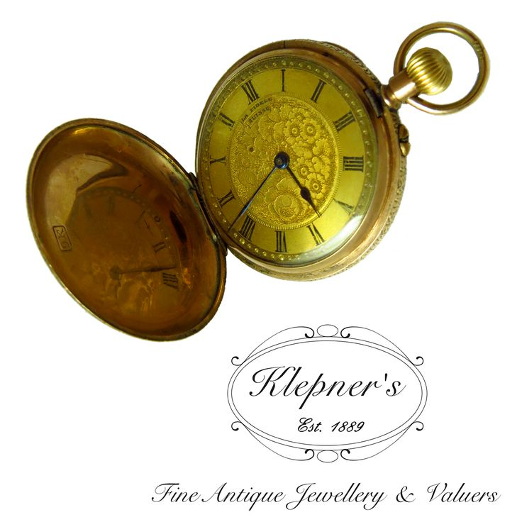 9ct rose gold antique pocket watch, swiss made with floral detail.