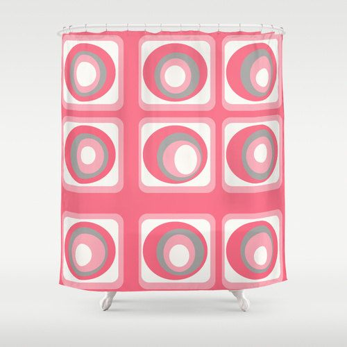 "Shower Curtain,Mid Century Modern Pink Shower Curtain, Modern Shower Curtain  The fun doesn't have to stop at the bathroom door. Our funky shower curtain will make your bathroom smile.  Our curtains are print at the time of the order. 71"" x 71"". Made of 100% polyester w/ 12 stitched button holes for hanging,  rings & liner not included."