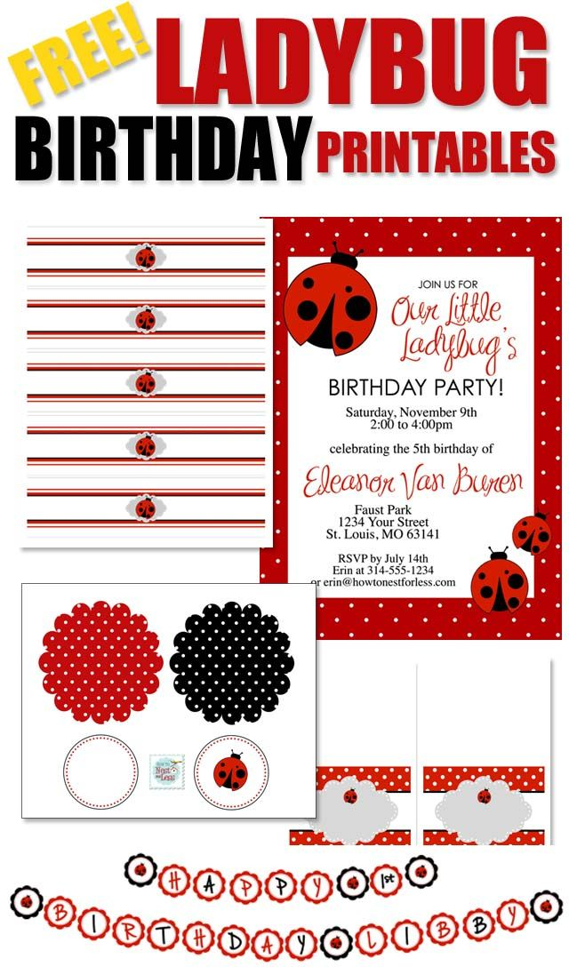 Since Pia loves reading her Grouchy Ladybug book lately, we could opt for this theme too! FREE LADYBUG BIRTHDAY PRINTABLES