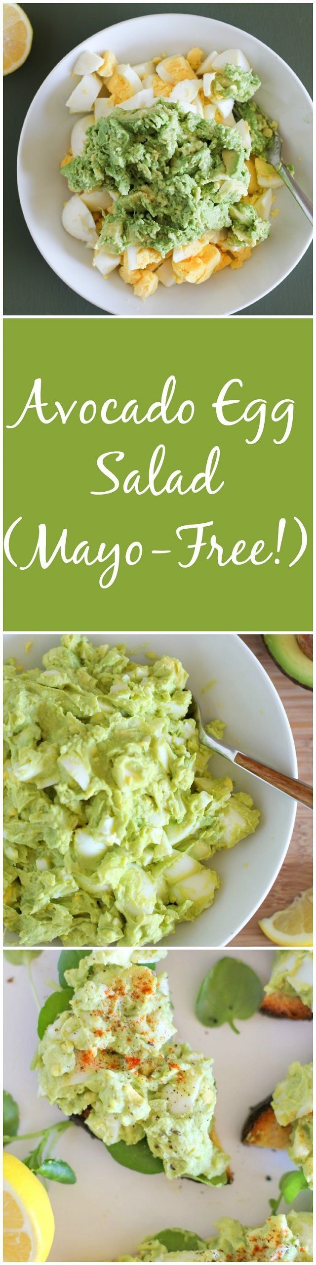 Avocado Egg Salad (Mayo-Free!)  - an easy 4-ingredient lunch recipe…