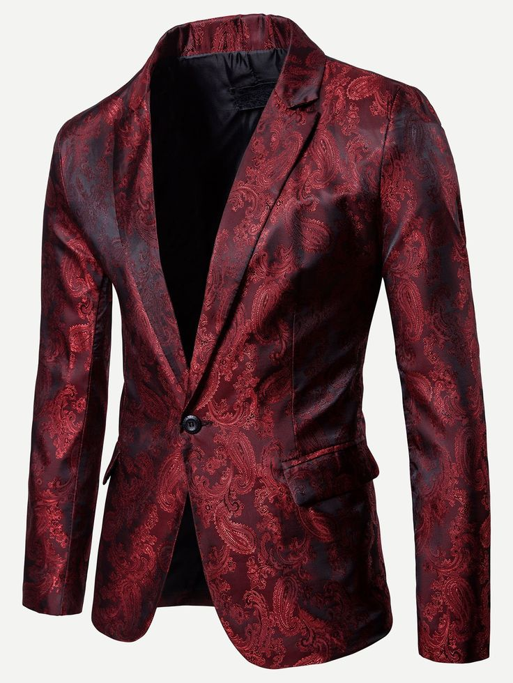 Floral Impressed Jacquard Single Button Blazer – Burgundy
