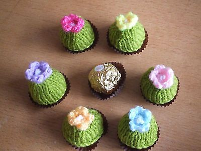 6 knitted #easter #spring flowers chocolate covers ferrero #rocher,  View more on the LINK: http://www.zeppy.io/product/gb/2/301856938652/