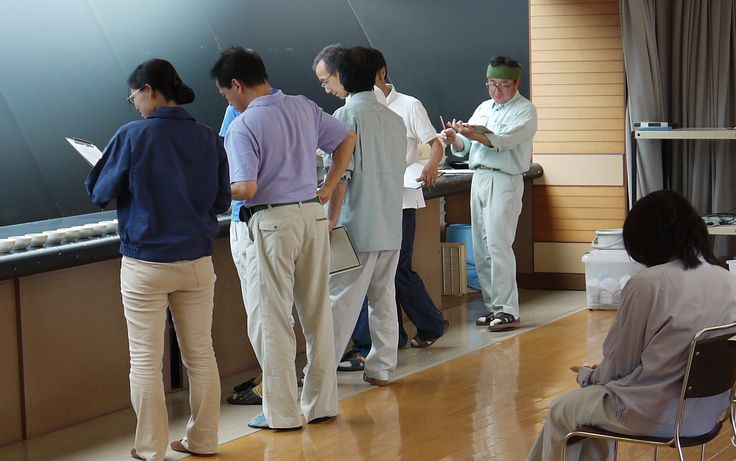 "Tea being judged at Kumamoto's Tea Research Center (""Chaken"") in the town of Mifune, Kumamoto, Japan."