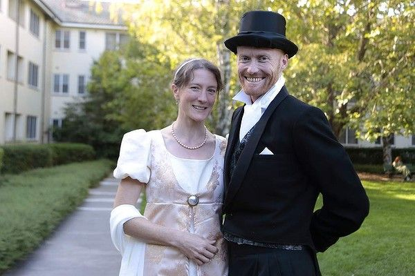 Looking dapper at the Jane Austen Festival: Mandy Wheen and Philip Wheen from the Central Coast. Photo: Jeffrey Chan