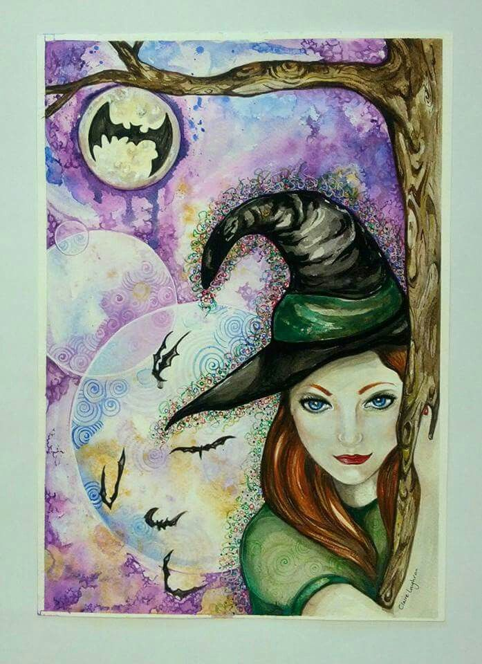 Batty Witch by Claire Loughran, watercolour.