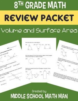 This Volume and Surface Area Review Packet is on sale for $1 until the end of the day on Tuesday, July 18th! This resource is a review packet for 8th grade math that includes 19 problems related to volume and surface area.