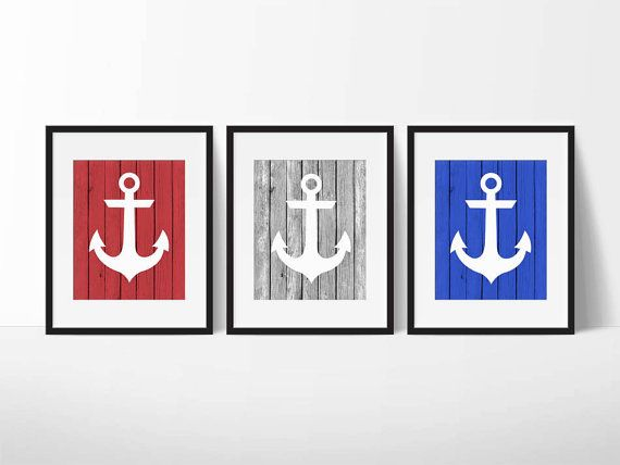 Anchor Print Set, Anchor Printable Nautical Nursery Decor, Boys Room Decor, Nautical Bedroom Decor, Anchor Wall Art, Beach House Decor, Wood