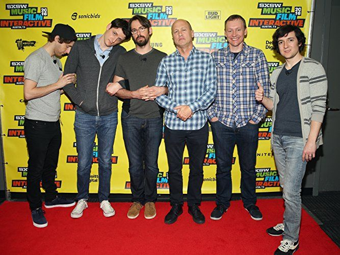 Alec Berg, Mike Judge, Martin Starr, Zach Woods, Thomas Middleditch, and Josh Brener at an event for Silicon Valley (2014)