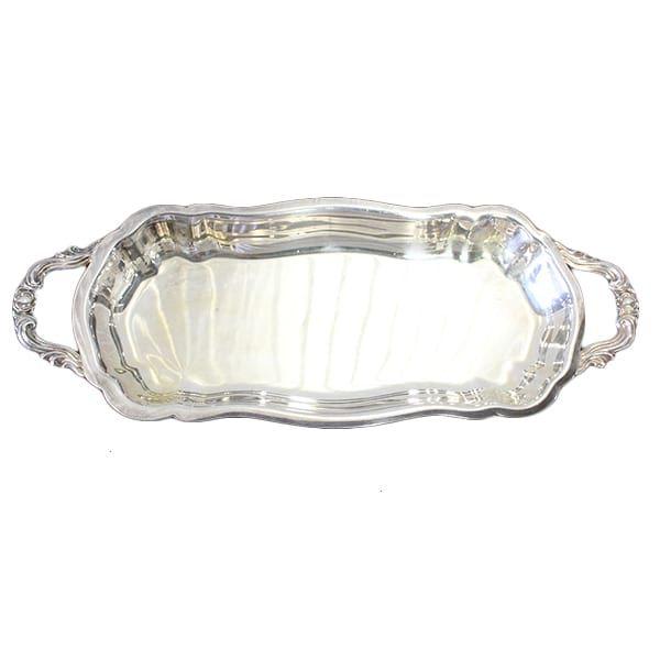 Sandra Petite Footed Silver Tray || Dimensions: 5 1/2 x 14 x 2.  Quantity: 1.