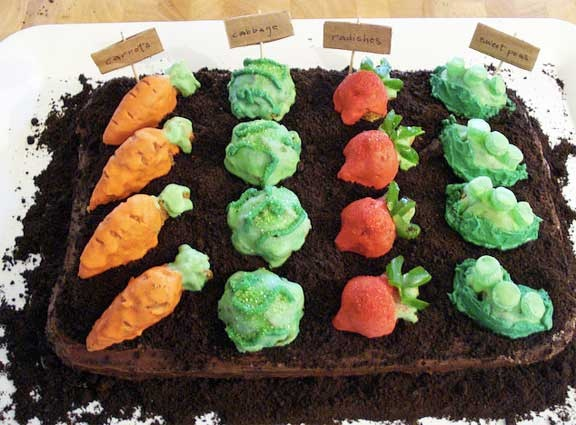 a garden cake! the only thing missing is peter-cottontail