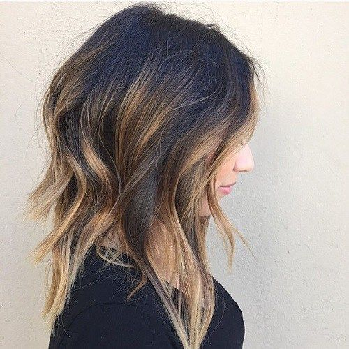 Medium+Layered+Brunette+Balayage+Hair
