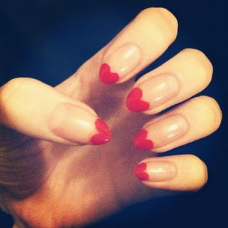 Cute red acrylic heart tips!