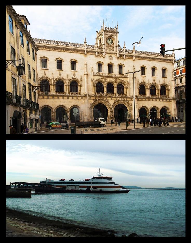 ESTAÇÕES (STATIONS)-  O comboio (estação do Rossio) e o barco (Terreiro do Paço) são os meios de transporte utilizados pelas pessoas que residem na periferia. The train and the ferryboat are used by people who live in the surroundings.    PORTUGAL- TRANSPORT