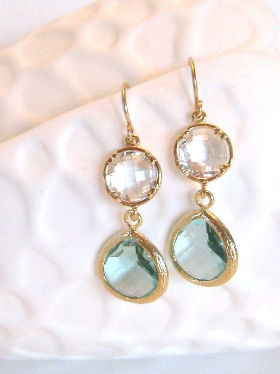 Aqua Earrings Gold Earrings Something Blue Aqua Wedding Clear Crystal Bridal Jewelry Aqua Bridesmaid Earrings Aqua Drop Earrings Ocean Blue