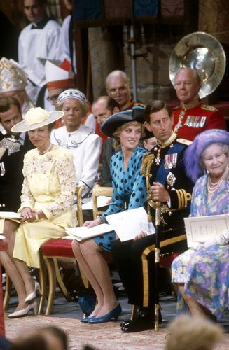 (L-R) Princess Anne, Diana, Princess of Wales, Prince Charles, Prince of Wales and the Queen Mother, with Duchess and Duke of Kent behind, watch as Sarah Ferguson walks up the aisle to her groom Prince Andrew, Duke of York at Westminster Abbey on 23 July 1986