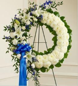 Save 5%-15% EVERYDAY on our 1-800-Flowers.com Serene Blessings Blue & White Standing Wreath® Pastel. Real Local Florists creating your special 1800Flowers delivery.